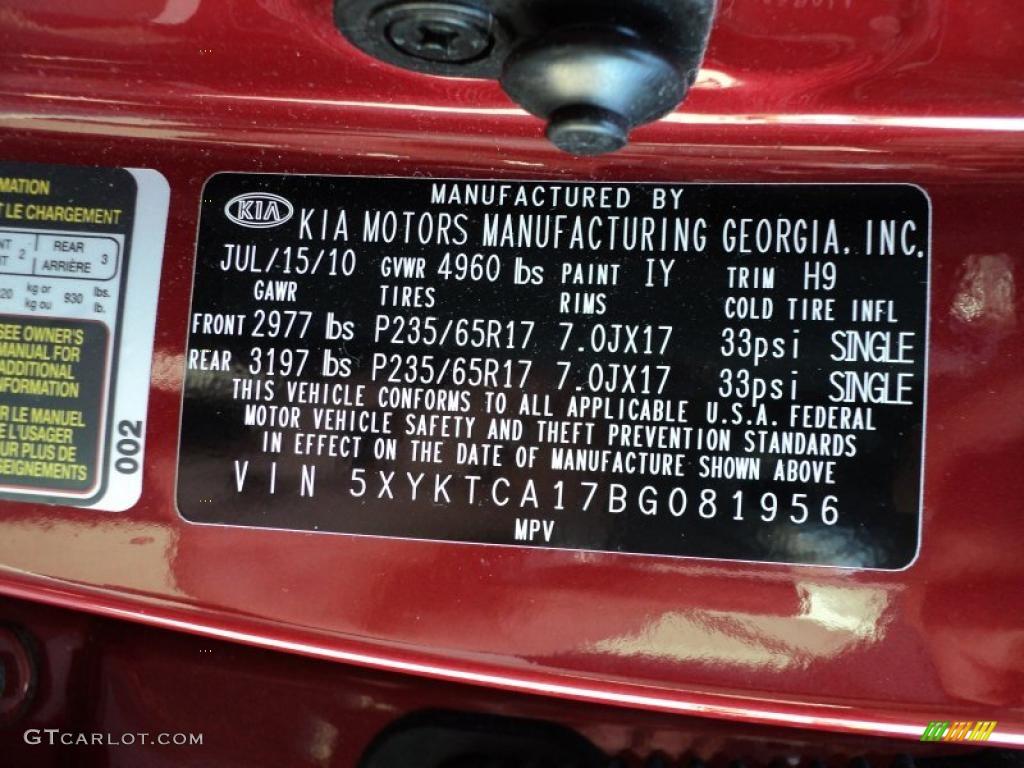 2011 Sorento LX AWD - Spicy Red / Gray photo #3