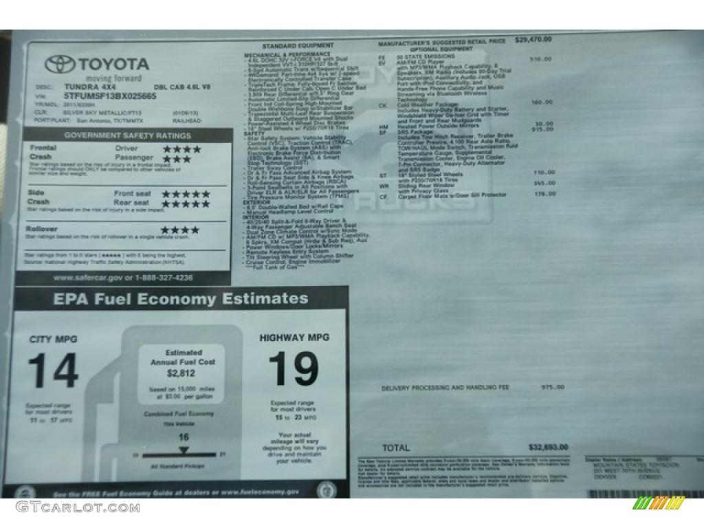 2011 Tundra Double Cab 4x4 - Silver Sky Metallic / Graphite Gray photo #12