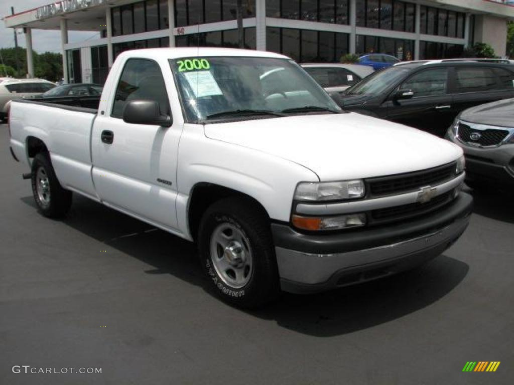 2000 Silverado 1500 LS Regular Cab - Summit White / Graphite photo #1