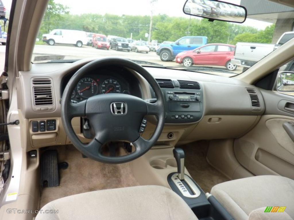 Beige Interior 2001 Honda Civic EX Sedan Photo #49624794