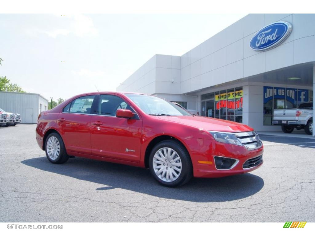 2011 Fusion Hybrid - Red Candy Metallic / Charcoal Black photo #1