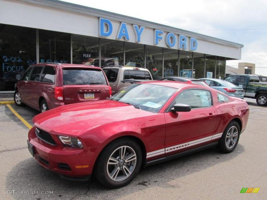 2011 Mustang V6 Premium Coupe - Red Candy Metallic / Stone photo #1