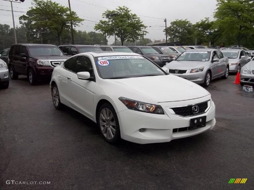 Taffeta White 2008 Honda Accord Ex L V6 Coupe Exterior