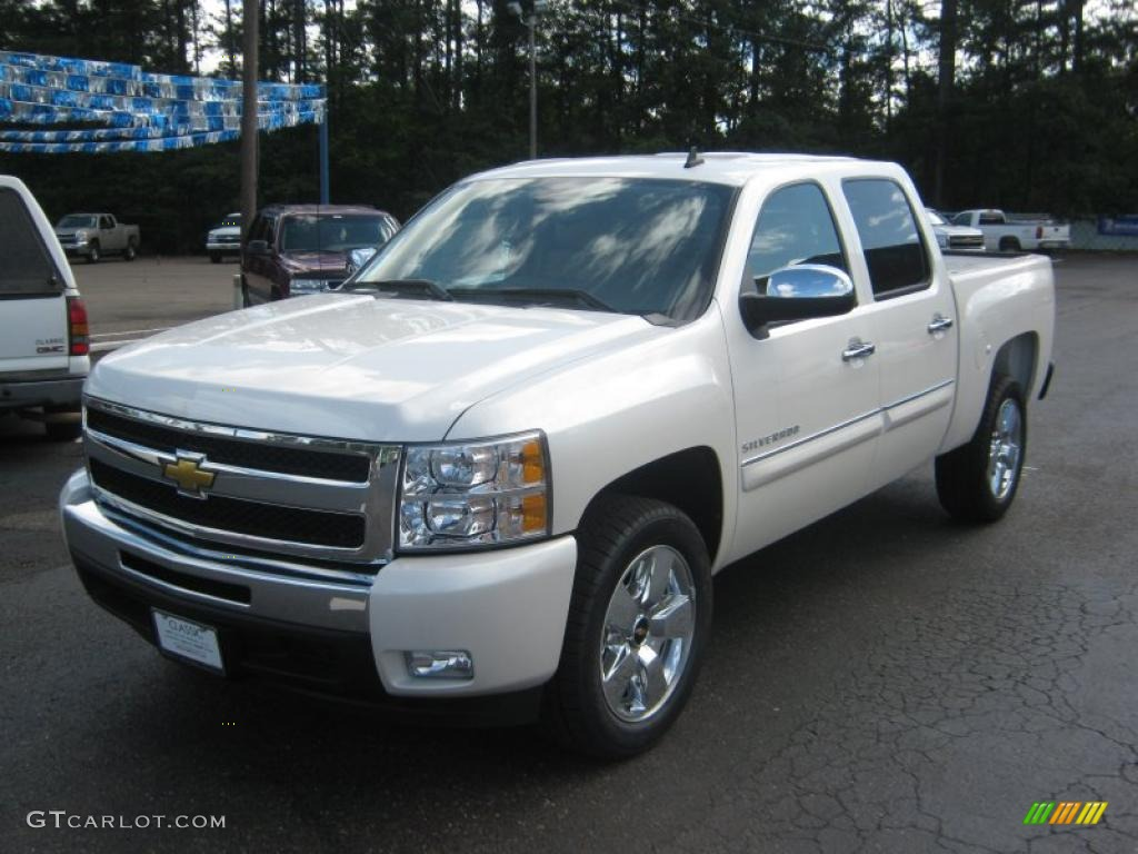 2011 Silverado 1500 LT Crew Cab - White Diamond Tricoat / Light Cashmere/Ebony photo #1