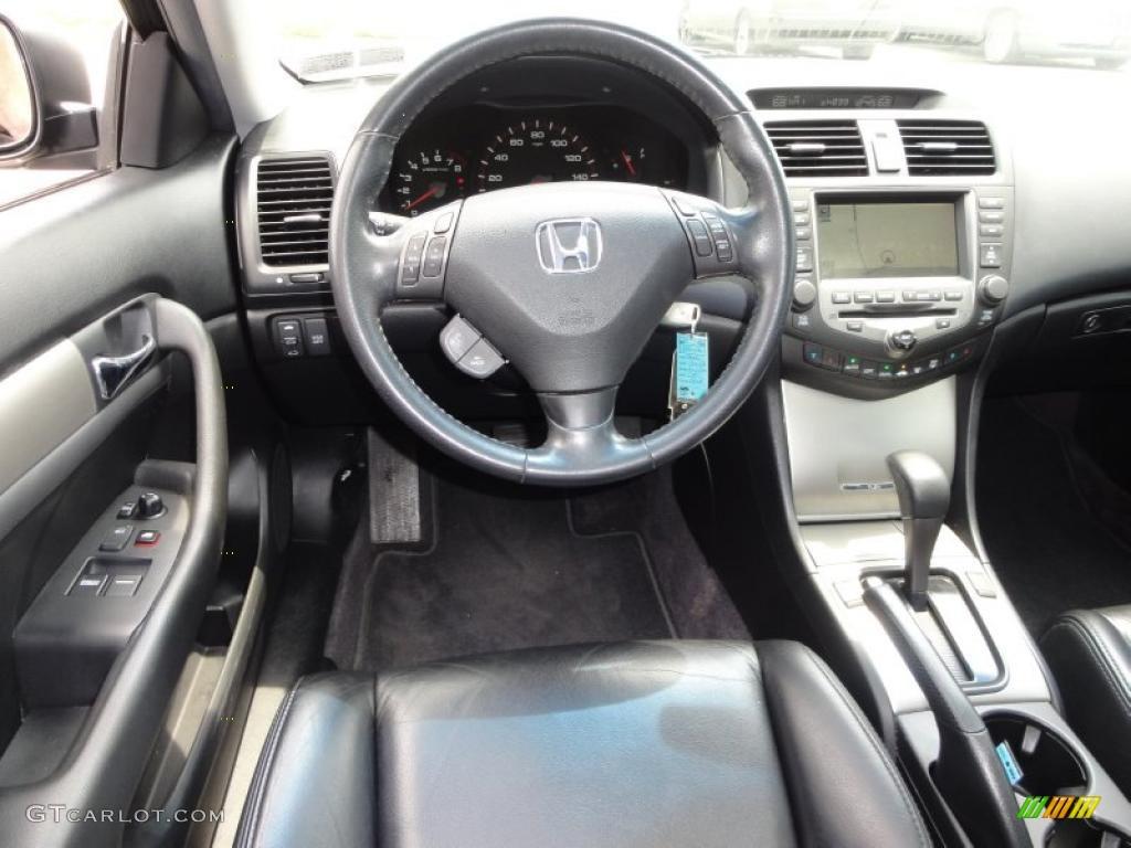 2006 Honda Accord EX L V6 Coupe Black Dashboard Photo #49833360