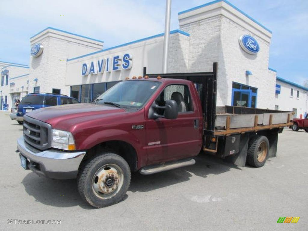 2004 F450 Super Duty XL Regular Cab 4x4 Chassis Stake Truck - Dark Toreador Red Metallic / Medium Flint photo #1