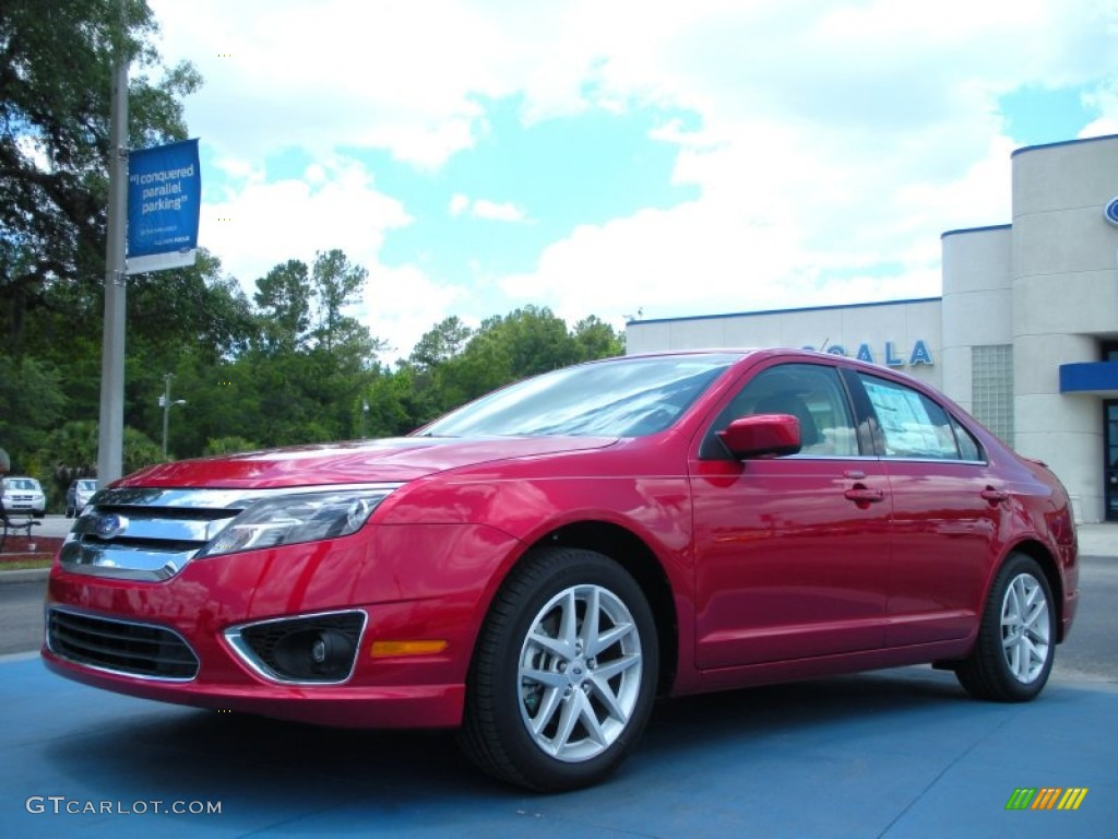 2011 Fusion SEL - Red Candy Metallic / Camel photo #1