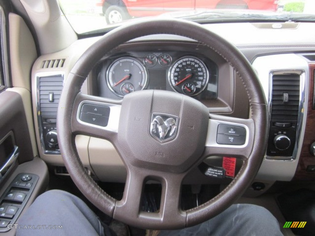 2010 Dodge Ram 3500 Laramie Crew Cab 4x4 Dually Light Pebble Beige/Bark Brown Steering Wheel Photo #50178524