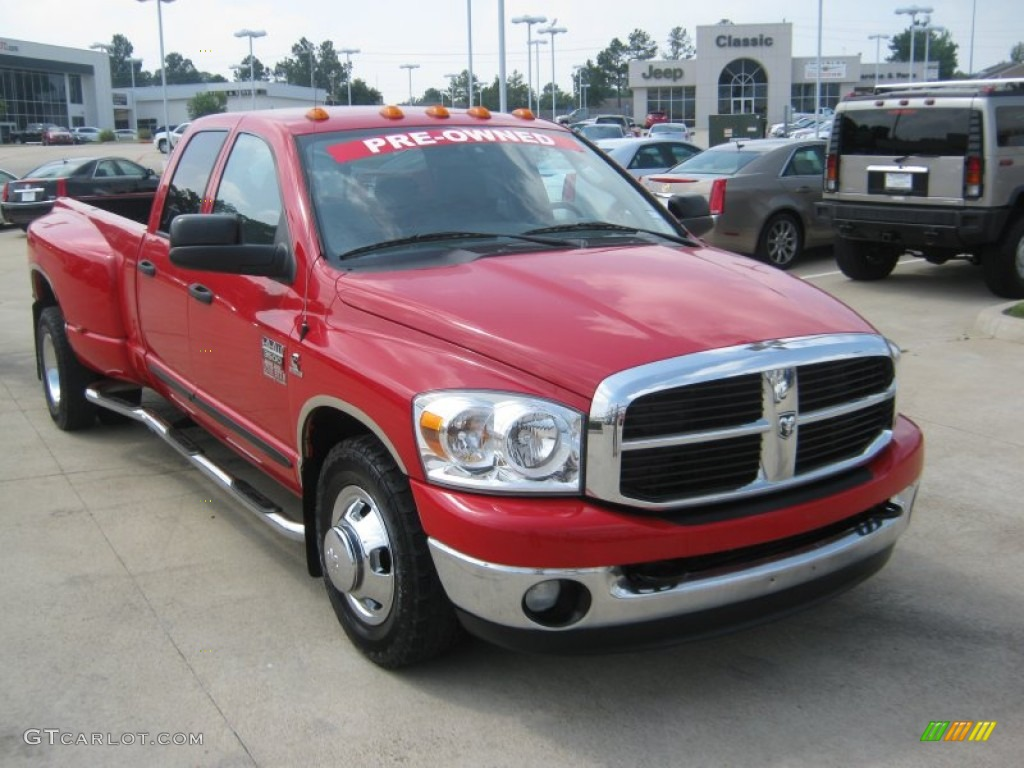 Flame Red 2007 Dodge Ram 3500 Lone Star Quad Cab Dually Exterior Photo #50295759