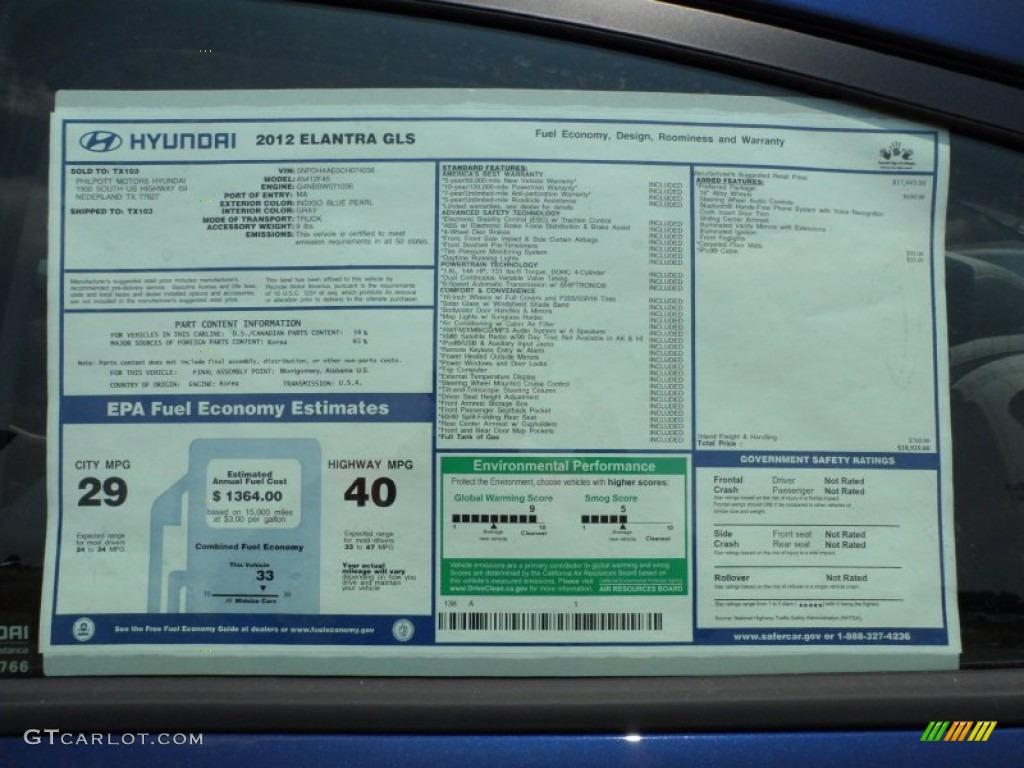 2012 Hyundai Elantra Gls Window Sticker Photo 50338271
