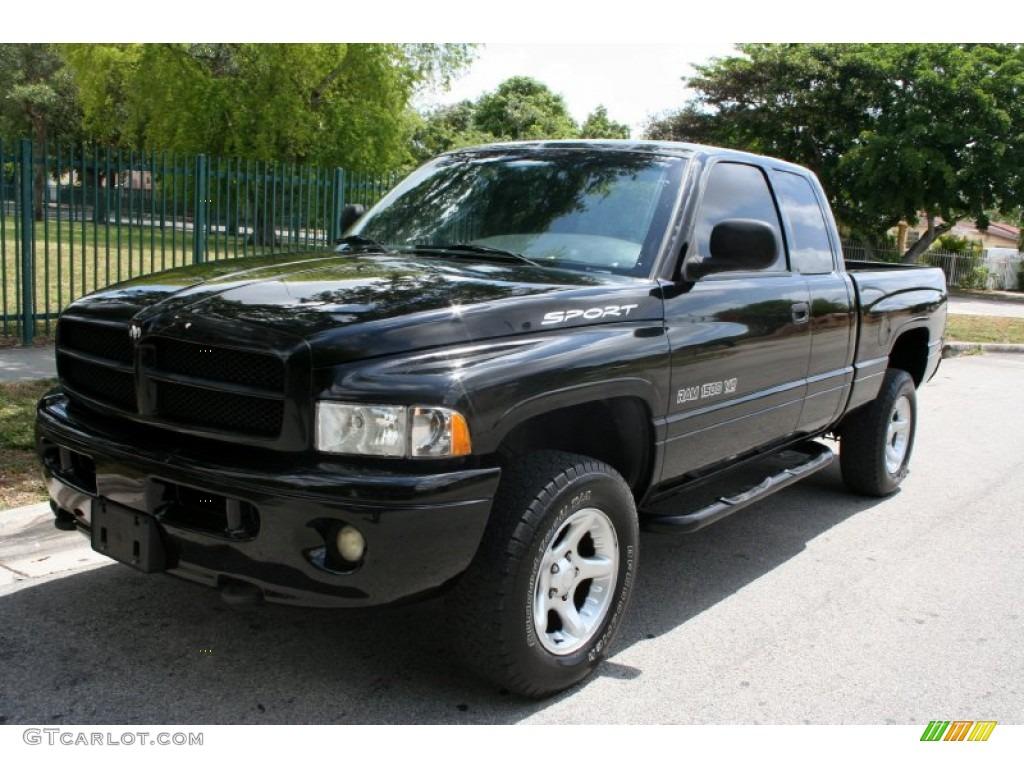Black 2000 Dodge Ram 1500 Sport Extended Cab 4x4 Exterior Photo