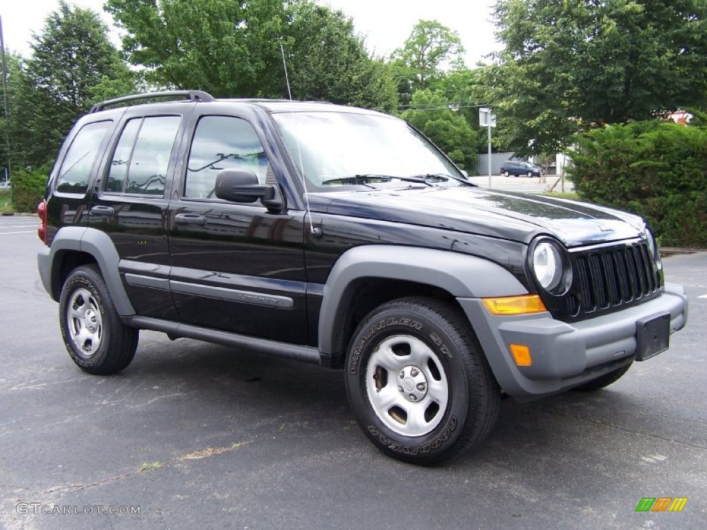 black clearcoat 2005 jeep liberty sport 4x4 exterior photo