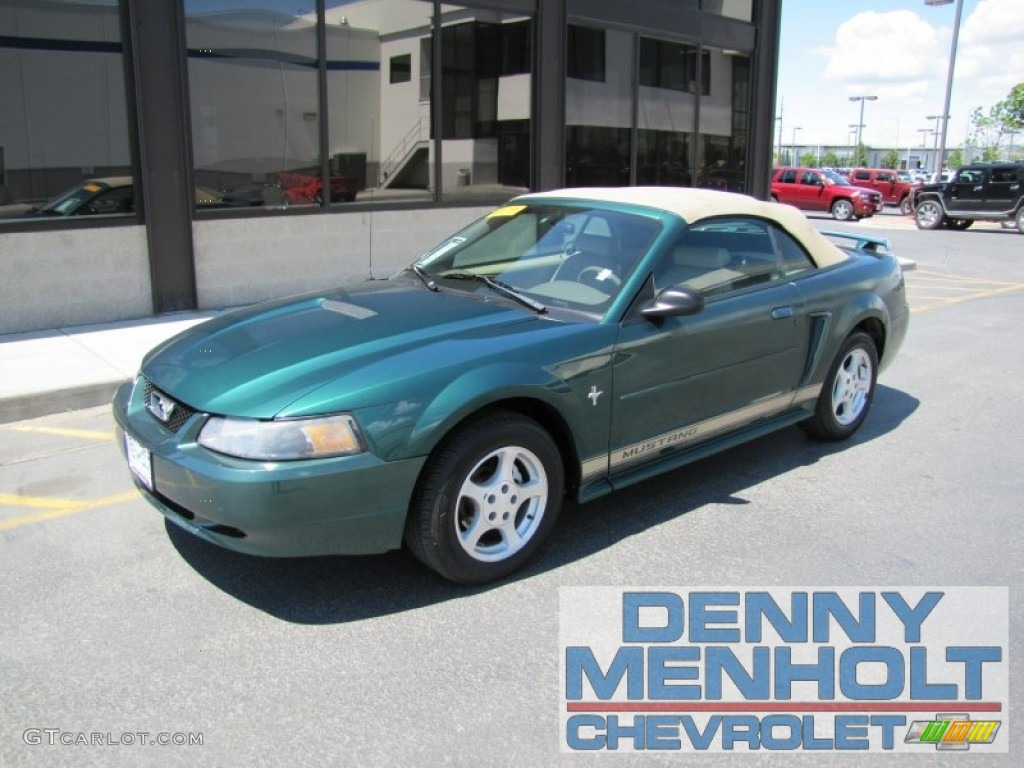 2002 Mustang V6 Convertible - Electric Green Metallic / Medium Parchment photo #1
