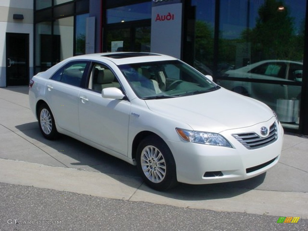 2007 Camry Hybrid   Super White / Bisque Photo #1