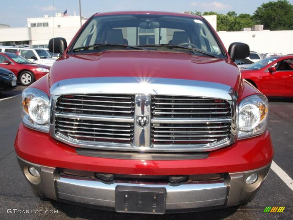 2008 Ram 1500 Laramie Quad Cab 4x4 - Blaze Red Crystal Pearl / Khaki photo #8