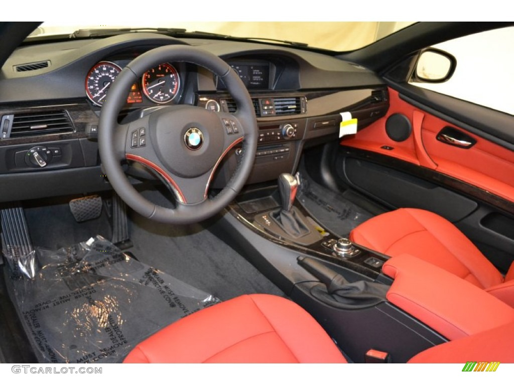 Coral Red Black Dakota Leather Interior 2011 Bmw 3 Series 328i Convertible Photo 50852431