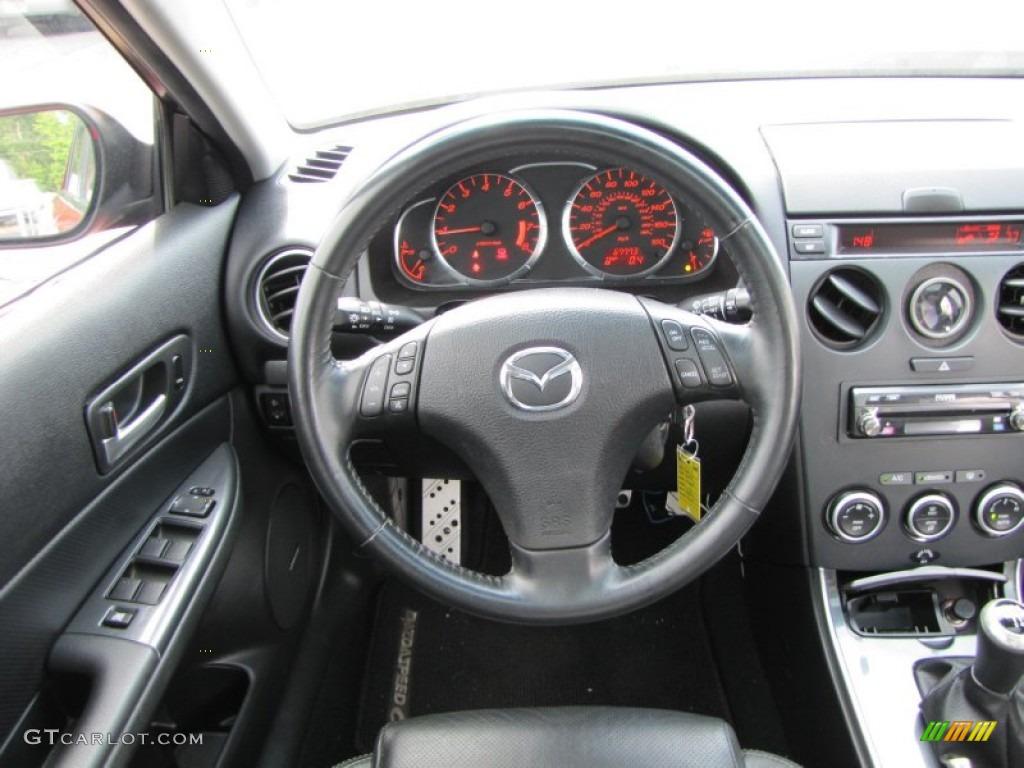 2006 Mazda MAZDA6 MAZDASPEED6 Grand Touring Black Steering Wheel Photo  #50943429