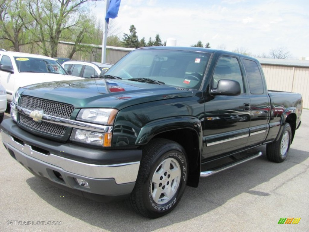 2005 dark green metallic chevrolet silverado 1500 z71 extended cab 4x4 50912662. Black Bedroom Furniture Sets. Home Design Ideas