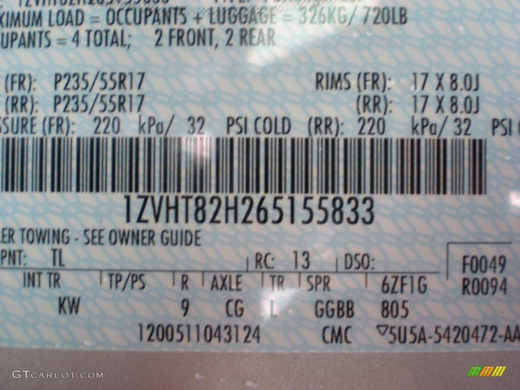 2006 Mustang Color Code TL for Satin Silver Metallic Photo #50955336