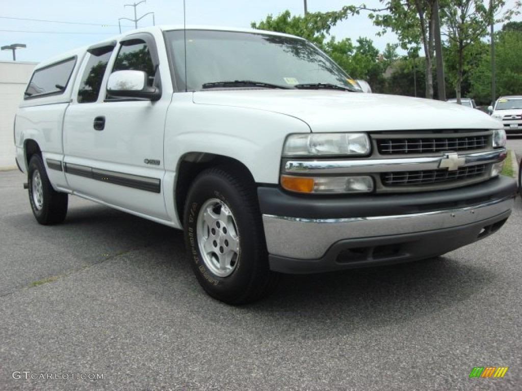 2000 Silverado 1500 LS Extended Cab - Summit White / Graphite photo #1
