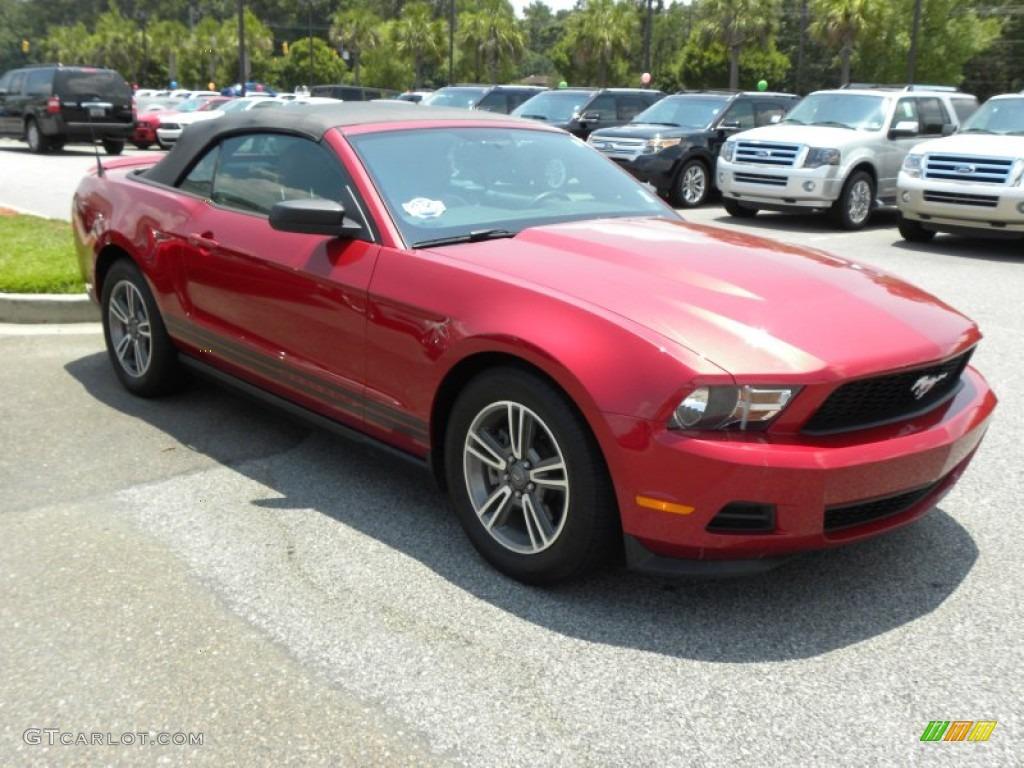 2011 Mustang V6 Premium Convertible - Red Candy Metallic / Saddle photo #1