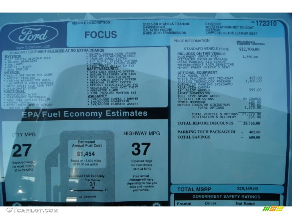 2012 ford focus titanium 5 door window sticker photo for 2001 ford focus window motor