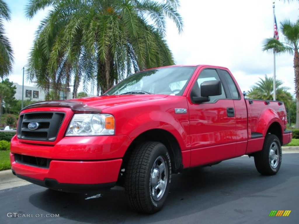 Bright Red 2005 Ford F150 Stx Regular Cab Flareside