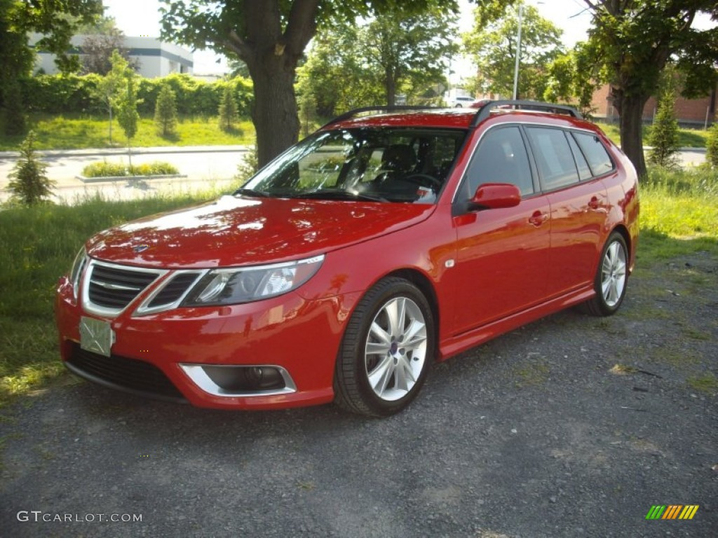 2008 laser red saab 9 3 aero sportcombi wagon 51288532. Black Bedroom Furniture Sets. Home Design Ideas