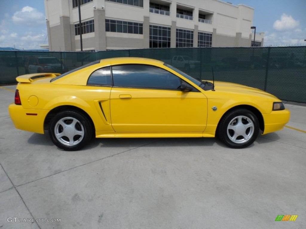 Screaming Yellow 2004 Ford Mustang V6 Coupe Exterior Photo