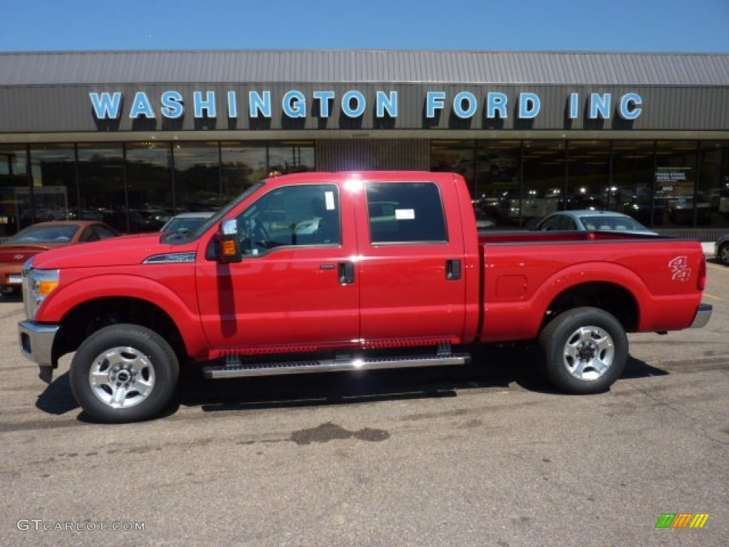 2011 f250 super duty xlt crew cab 4x4 vermillion red steel gray photo