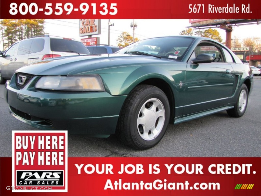 2001 Mustang V6 Coupe - Dark Highland Green / Medium Parchment photo #1