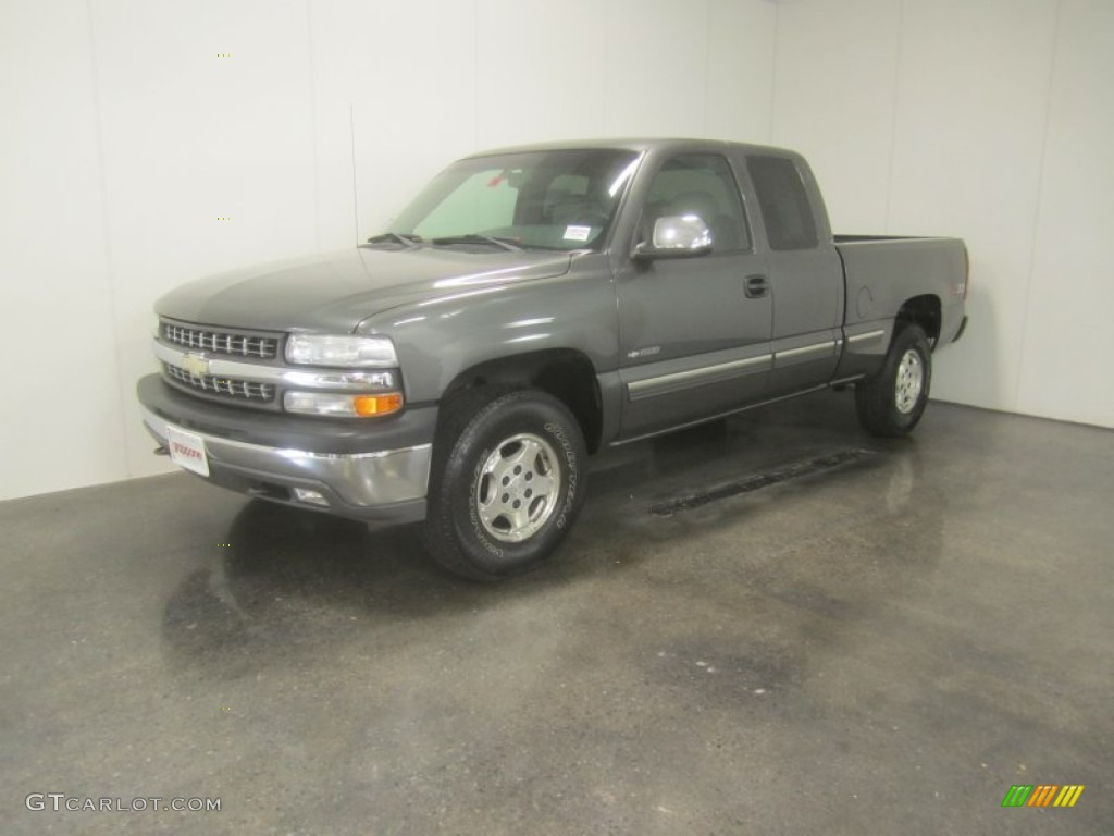 2002 Silverado 1500 LS Extended Cab 4x4 - Medium Charcoal Gray Metallic / Graphite Gray photo #1