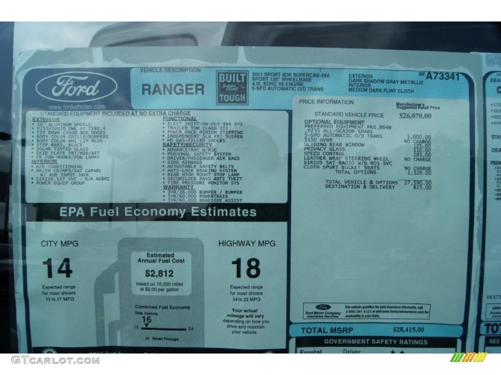 2011 ford ranger sport supercab 4x4 window sticker photo 51554682. Black Bedroom Furniture Sets. Home Design Ideas