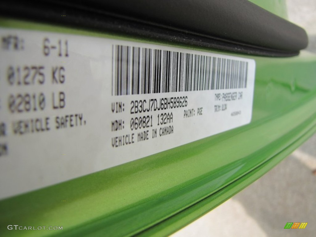 2011 challenger color code pge for green with envy photo 51627433