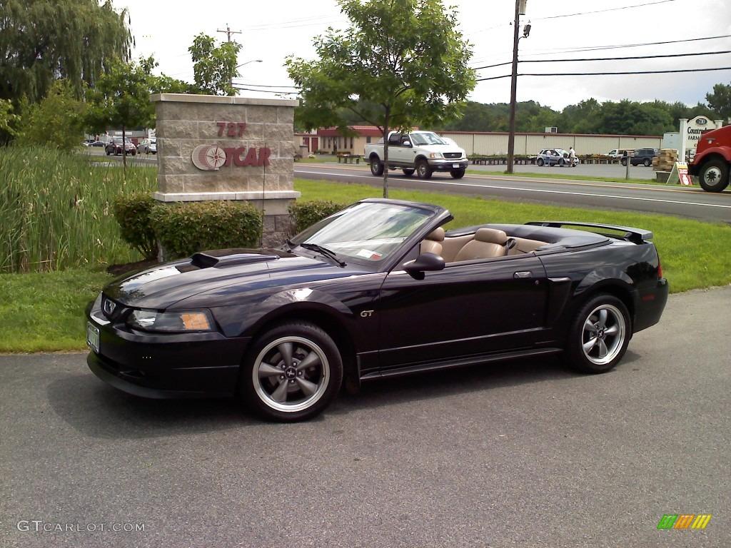 2001 Mustang GT Convertible - Black / Medium Parchment photo #1