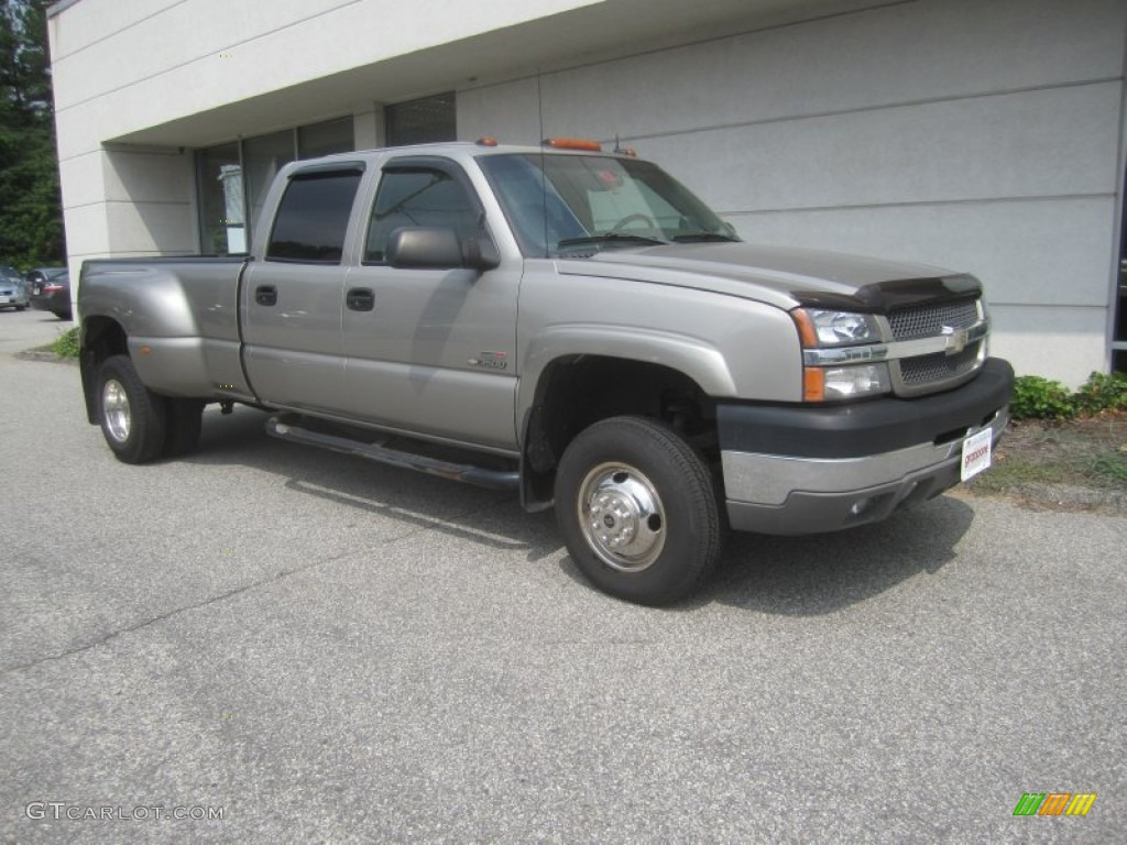 2003 Silverado 3500 LT Crew Cab 4x4 Dually - Light Pewter Metallic / Dark Charcoal photo #1