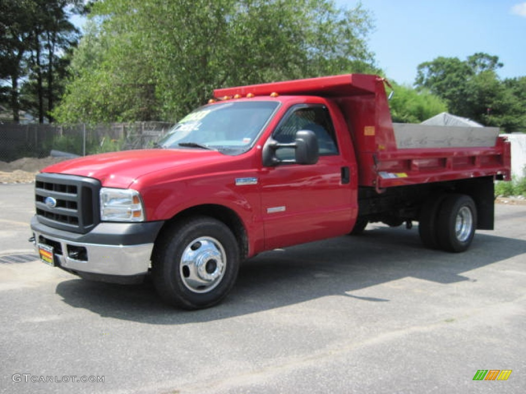 2007 red ford f350 super duty xl regular cab dump truck. Black Bedroom Furniture Sets. Home Design Ideas