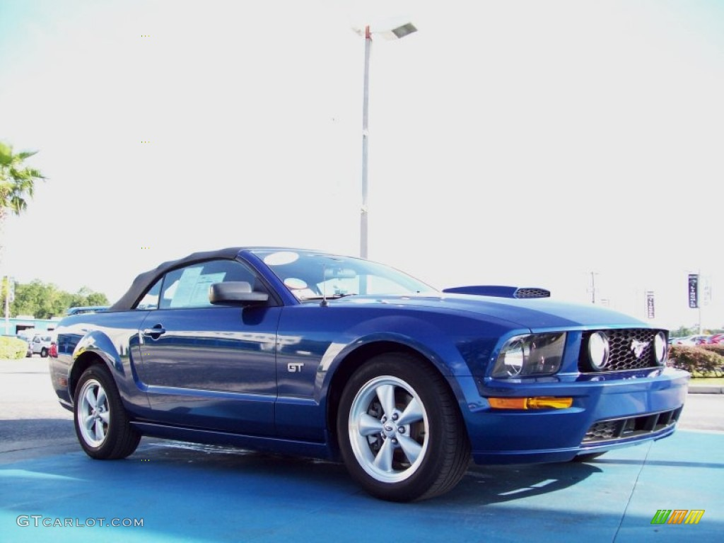 2007 Mustang GT Premium Convertible - Vista Blue Metallic / Dark Charcoal photo #7