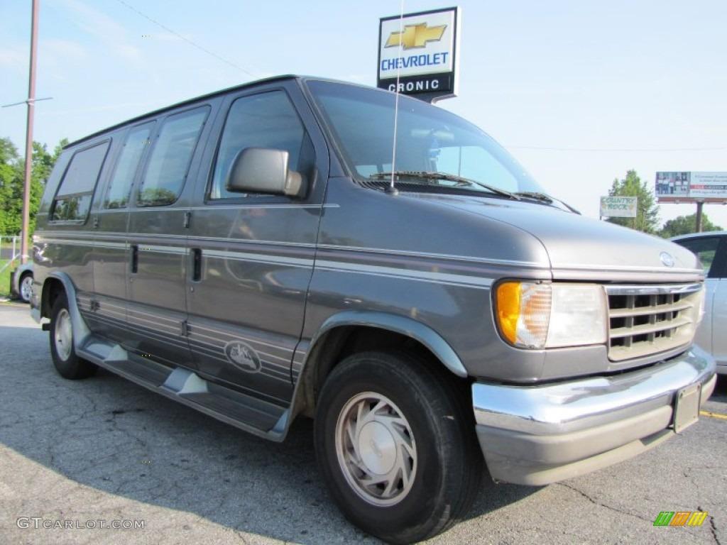 1994 econoline e150 passenger conversion van medium platinum metallic gray photo 1