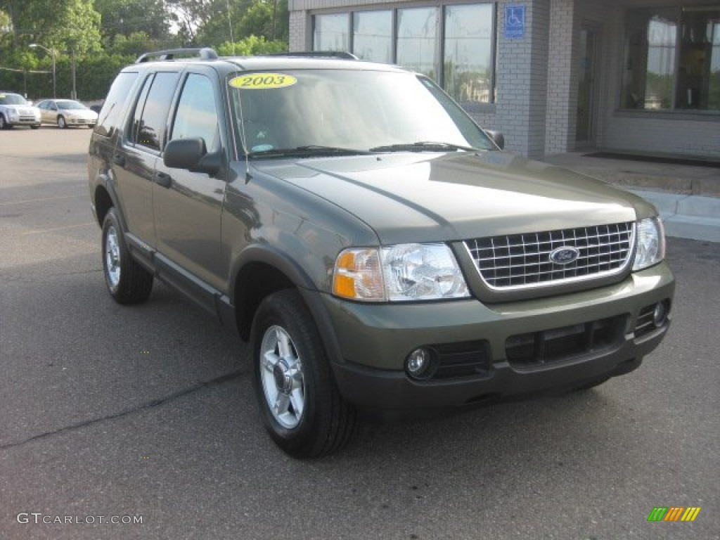 2003 Explorer XLT 4x4 - Estate Green Metallic / Medium Parchment Beige photo #1