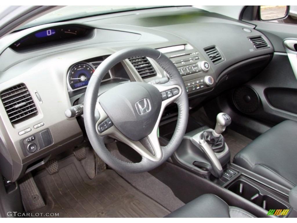 Black Interior 2008 Honda Civic EX L Coupe Photo #52125022