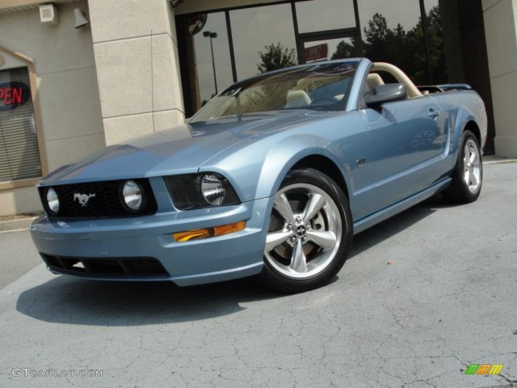 2007 Mustang GT Premium Convertible - Windveil Blue Metallic / Medium Parchment photo #1