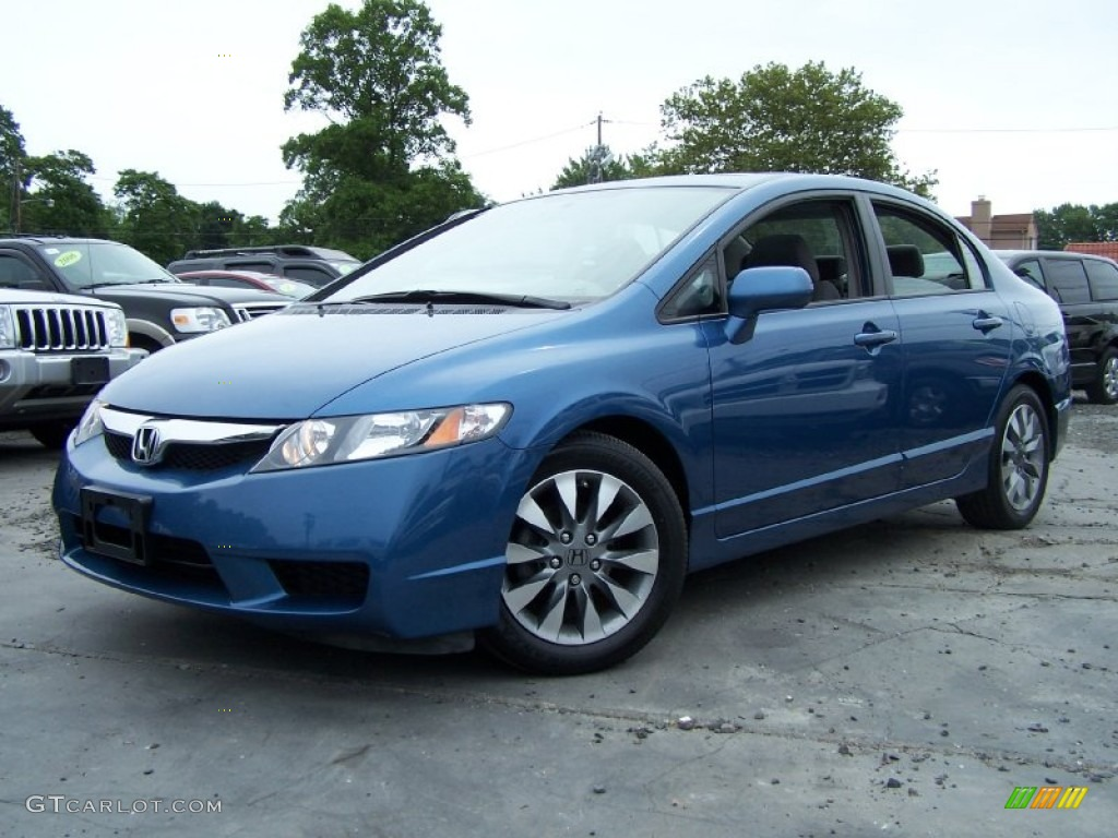Good 2009 Civic EX Sedan   Atomic Blue Metallic / Gray Photo #1