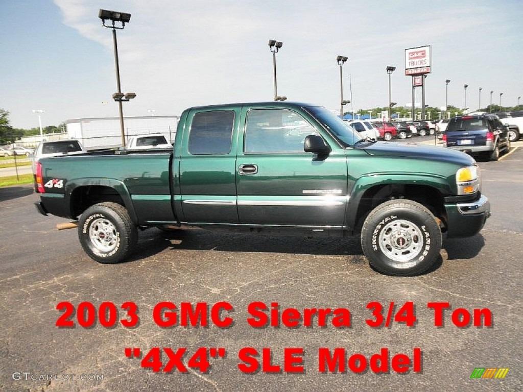 2003 Sierra 2500HD SLE Extended Cab 4x4 - Polo Green Metallic / Dark Pewter photo #1