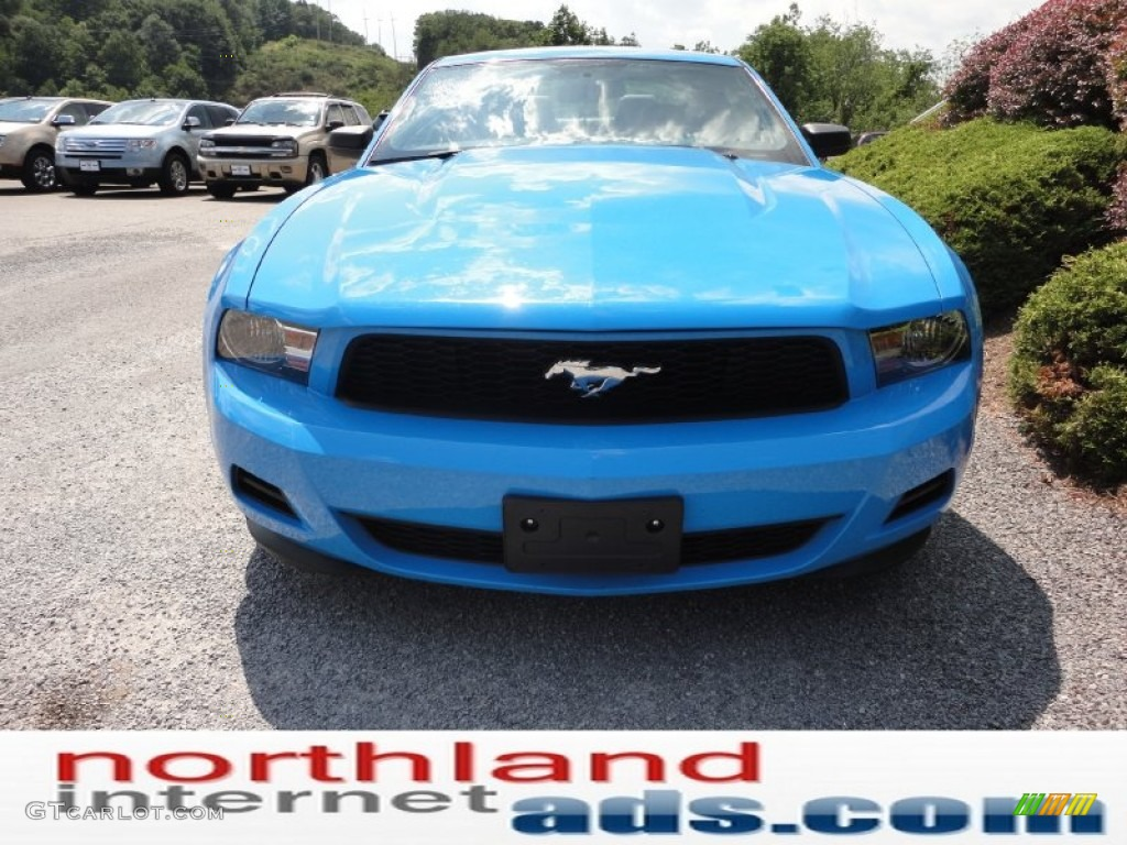 2011 Mustang V6 Premium Coupe - Grabber Blue / Charcoal Black photo #3