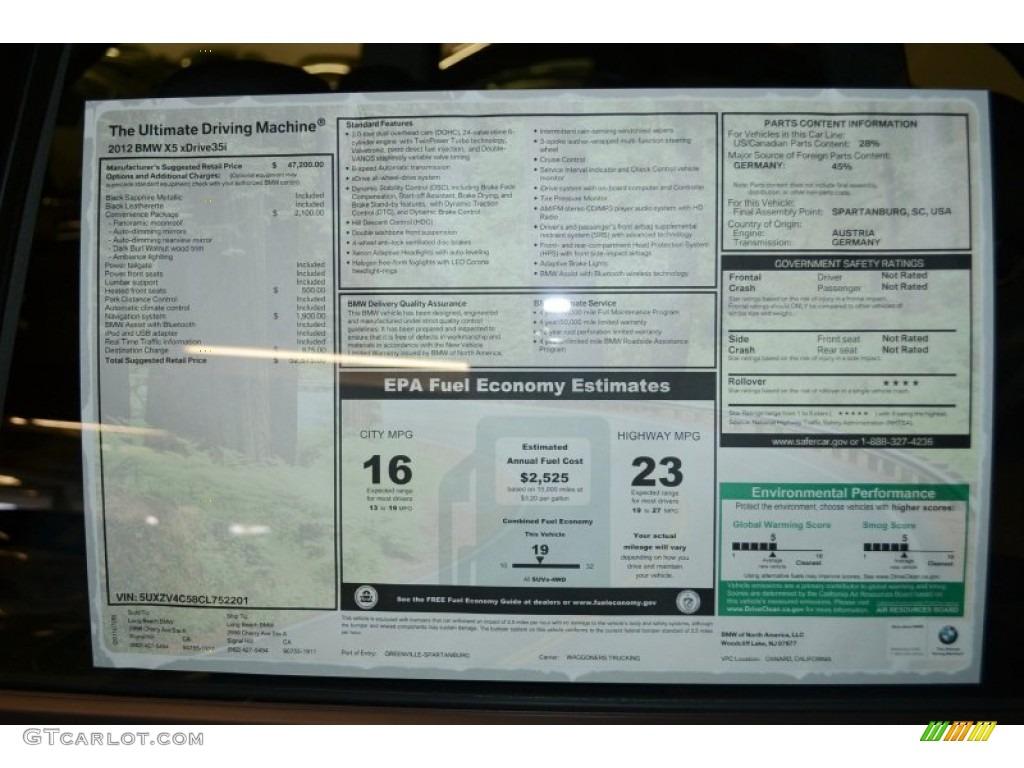2012 Bmw X5 Xdrive35i Window Sticker Photo 52461107