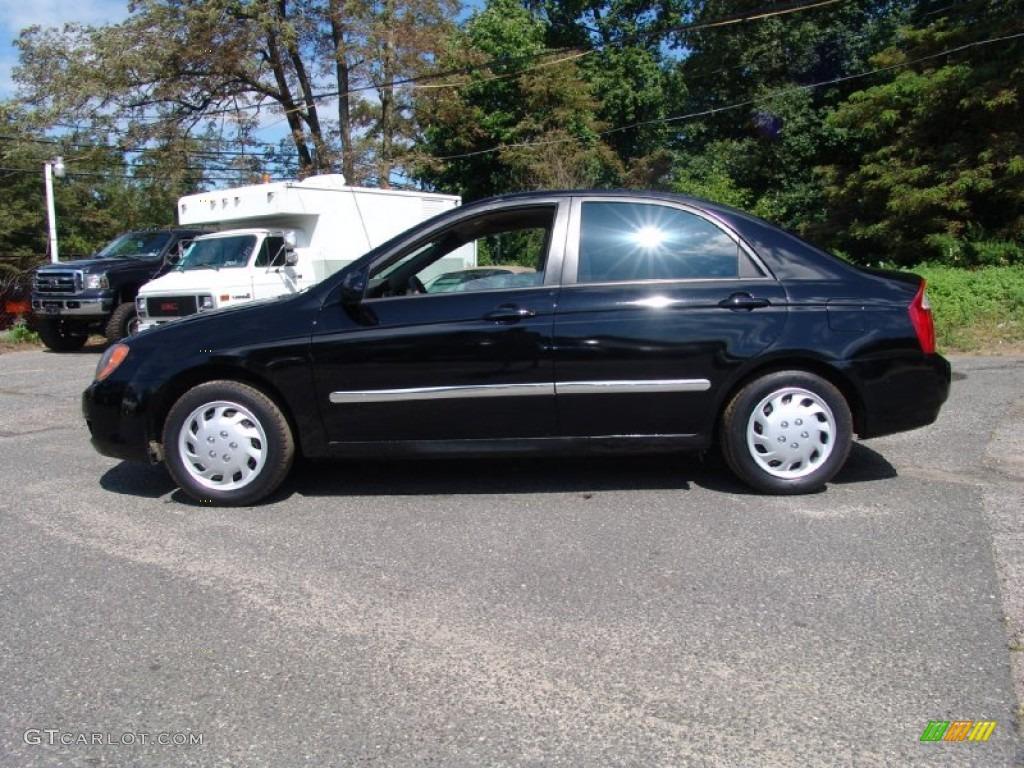 Ebony Black 2005 Kia Spectra Lx Sedan Exterior Photo