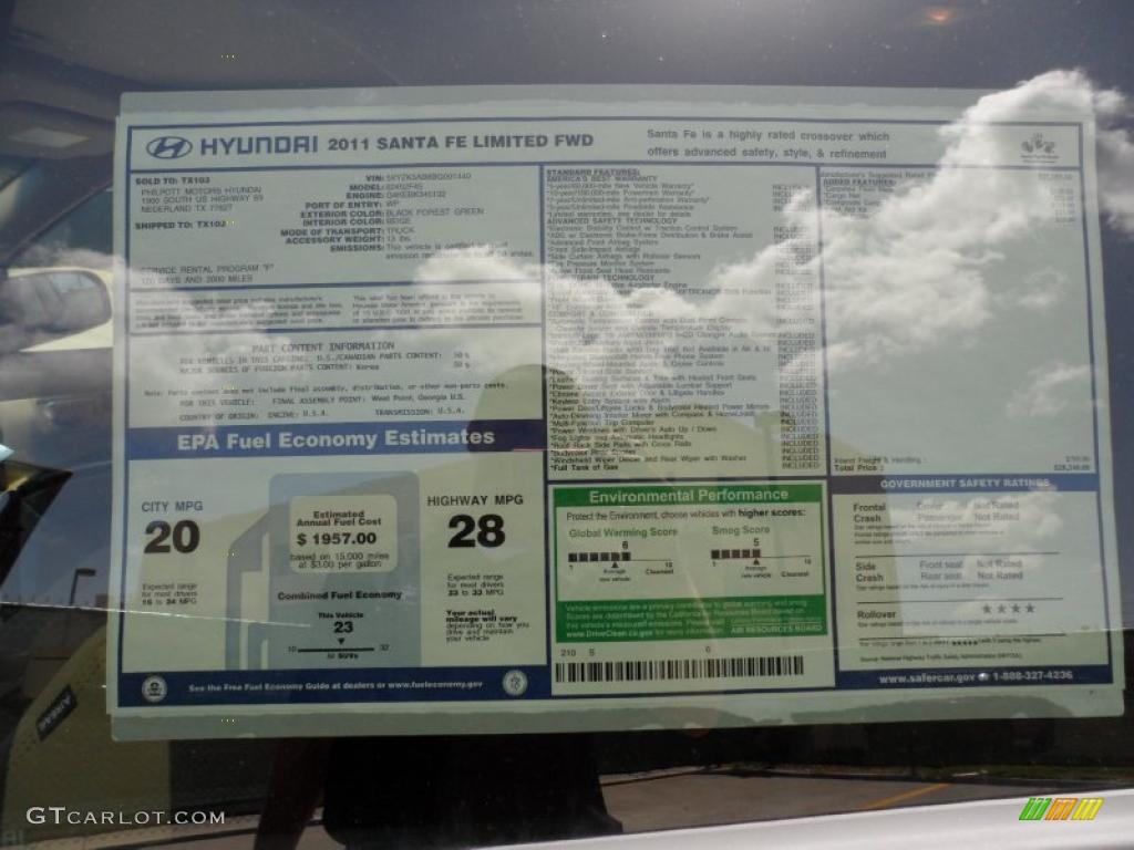 2011 Hyundai Santa Fe Limited Window Sticker Photo 52746048 Gtcarlot Com