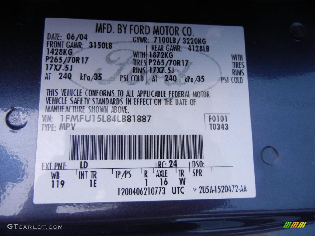 2004 expedition color code ld for medium wedgewood blue for Ford motor company warranty information