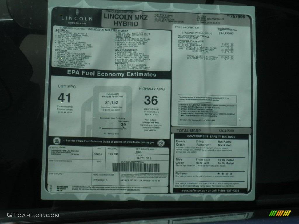 2011 Lincoln Mkz Hybrid Window Sticker Photo 52819208